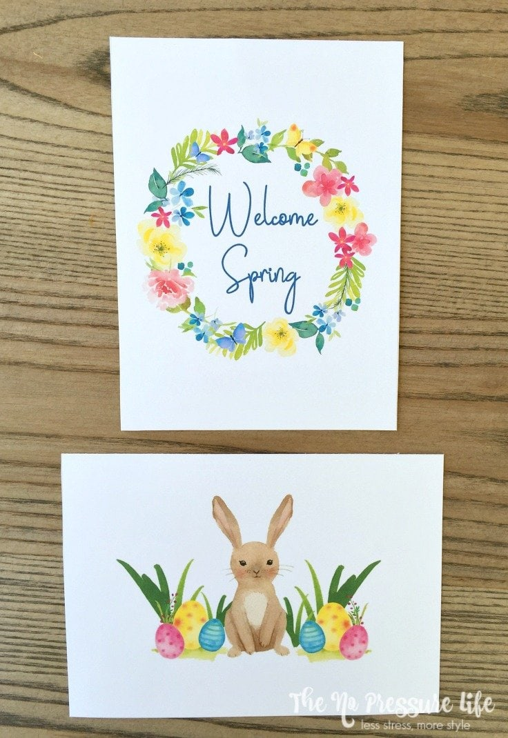 free spring printable art - Welcome Spring and Easter Bunny free art prints