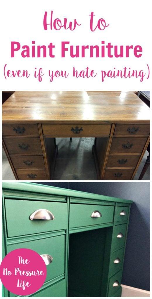 Brown thrift shop desk painted green