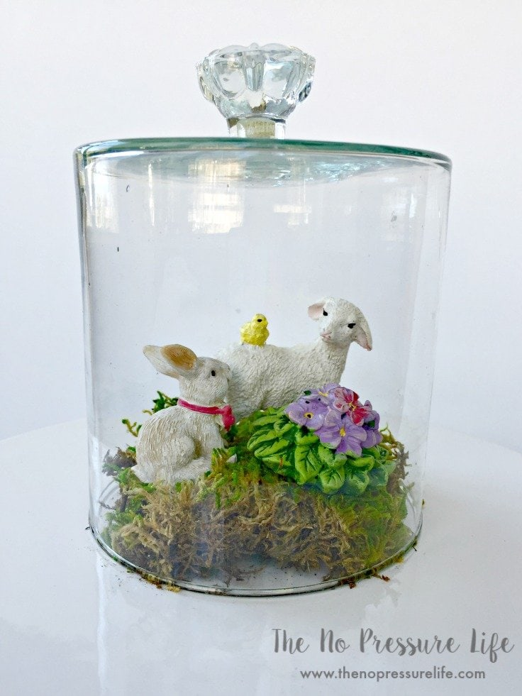 DIY cloche jar with Easter decorations