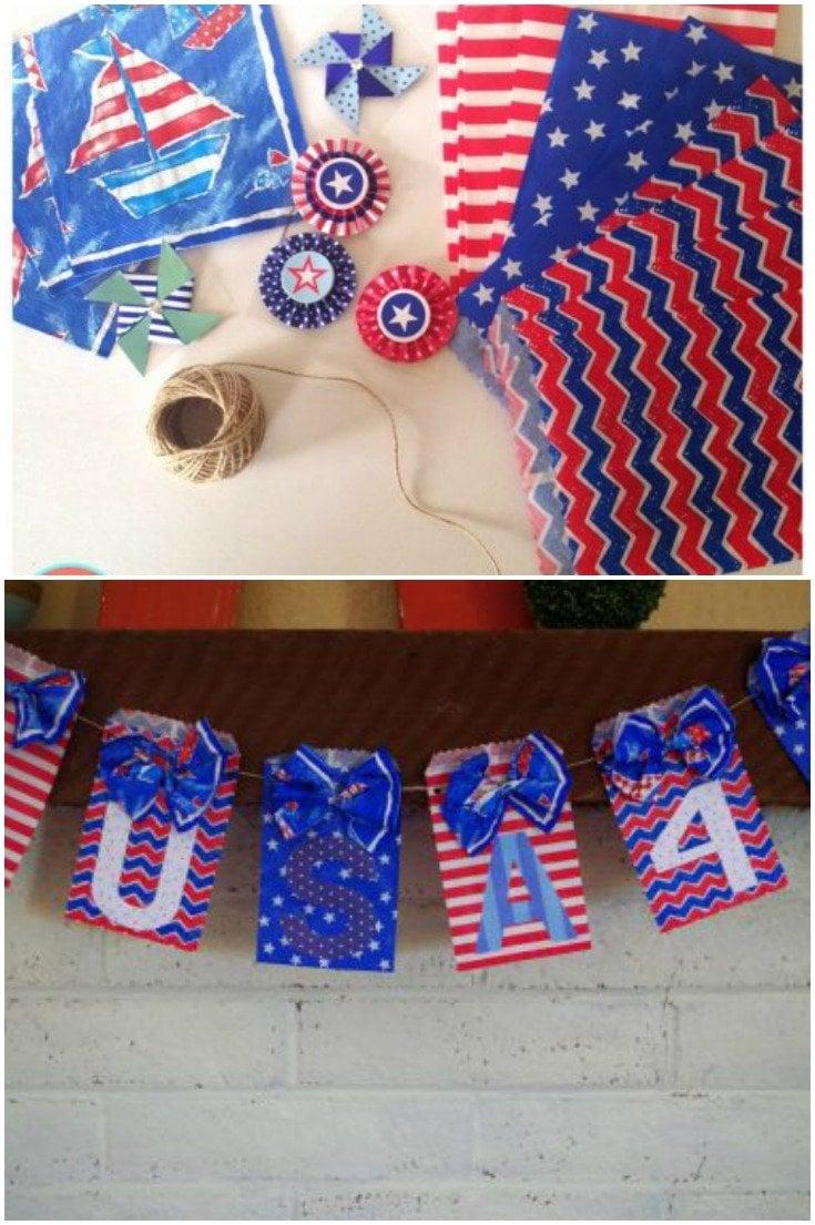 DIY patriotic banner 4th of July Decoration via @dazzlefrazzled