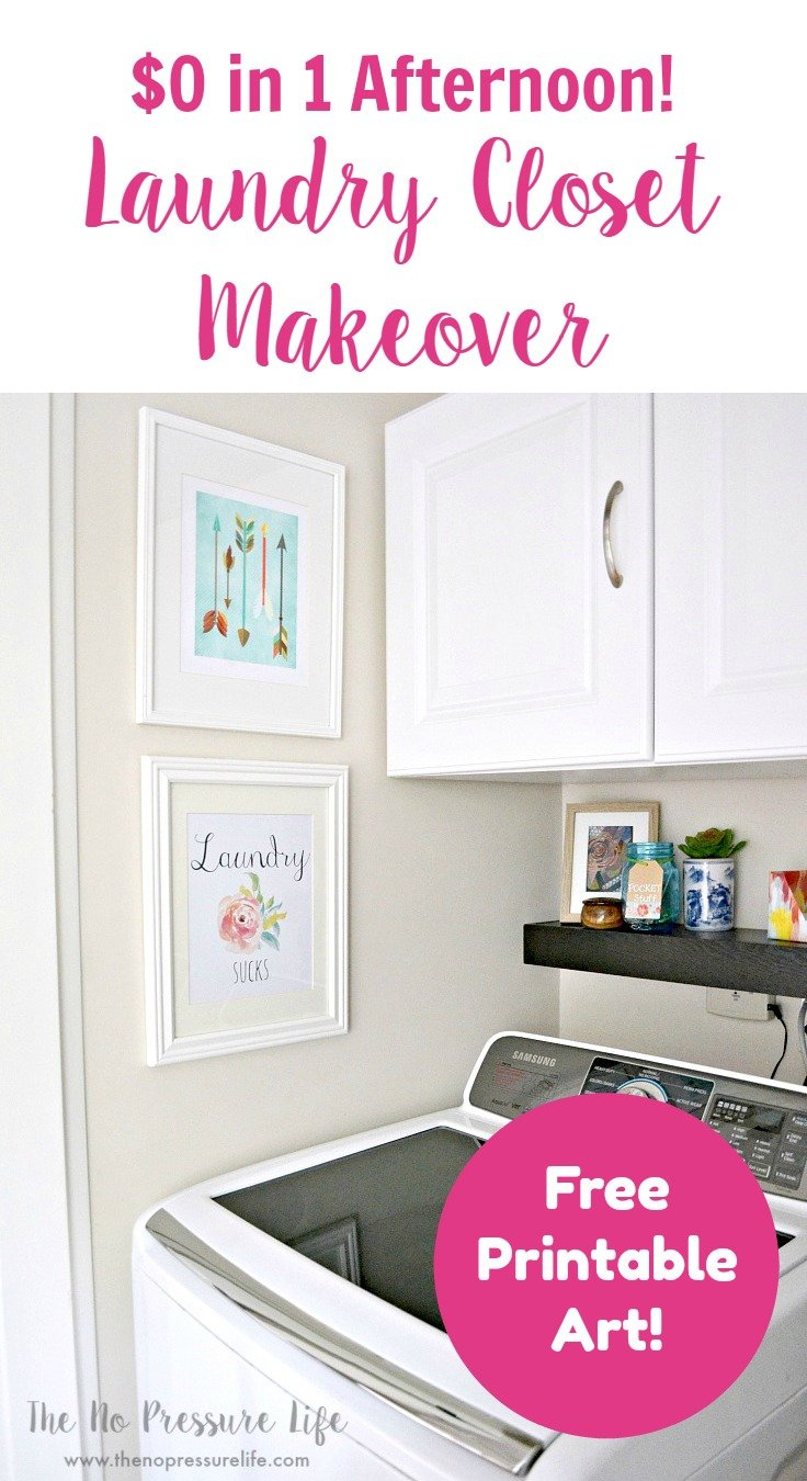 Laundry closet makeover on a budget! Easy small laundry room makeover for free.