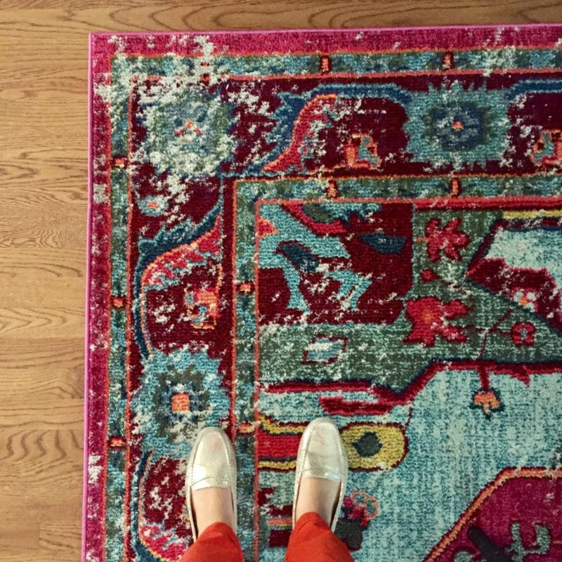 This is a gorgeous, colorful vintage-style rug!