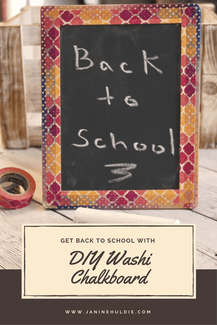 Learn how to make this easy back to school craft with a chalkboard and washi tape.