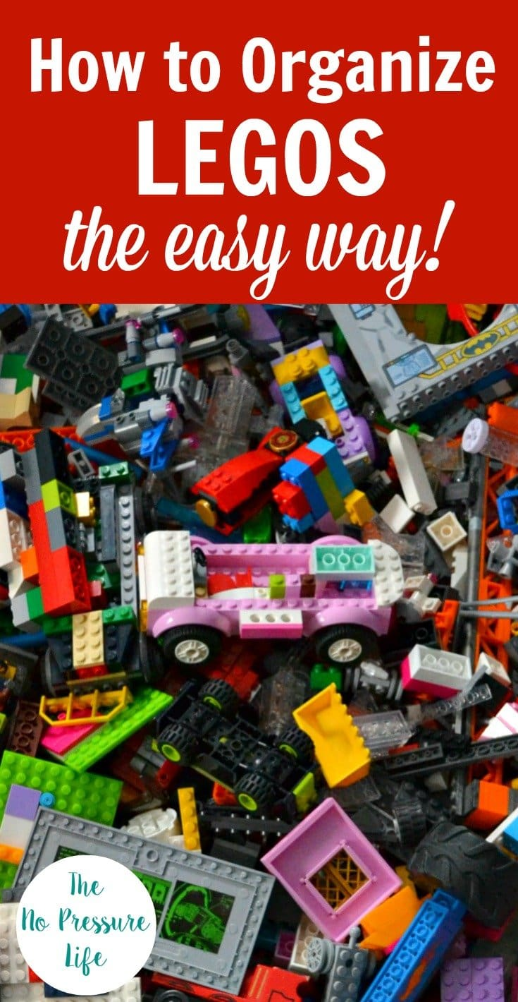 "Messy pile of LEGOS with text overlay ""How to Organize LEGOS the Easy Way"""