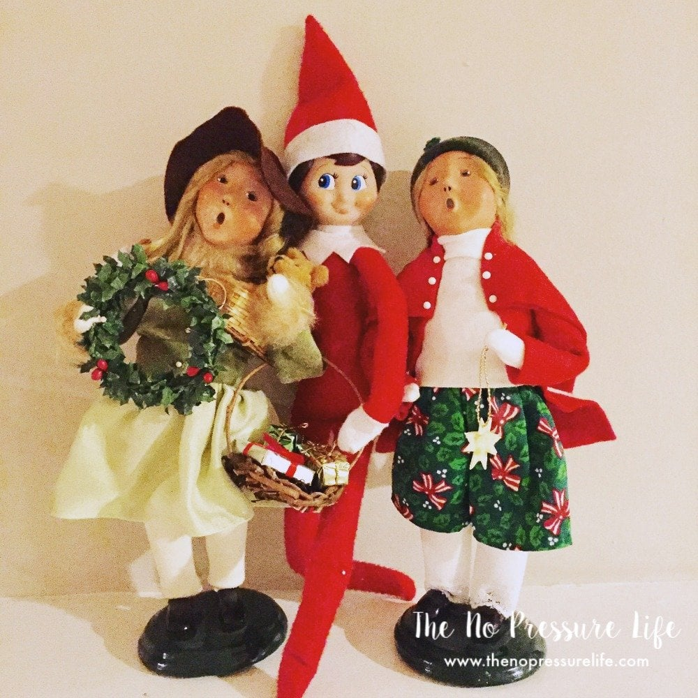 easy elf on the shelf ideas - Christmas caroling