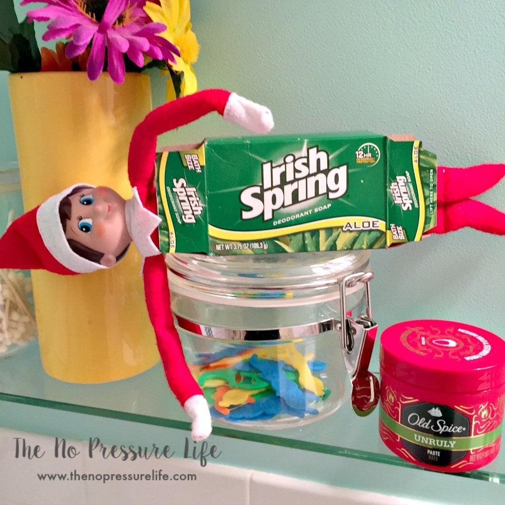easy elf on the shelf ideas: hiding in a soap box