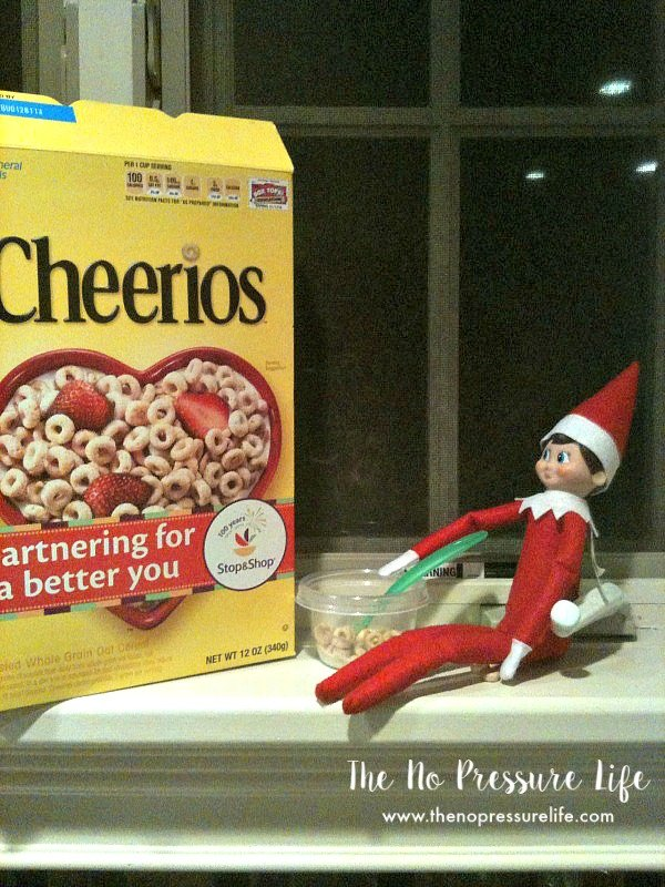 easy elf on the shelf ideas - eating cereal