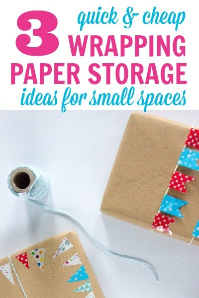 Wrapping Paper Storage Ideas to easily organize and contain all your gift wrap and gift bags.