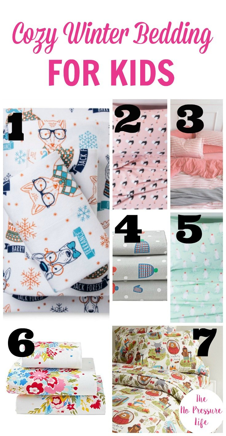 Where to buy cozy winter bedding for kids. Flannel sheet sets for kids.