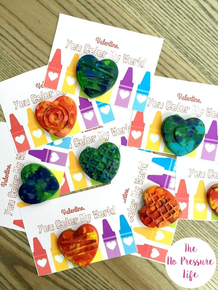Valentine's Day party for kids - free printable Valentine's Day cards with DIY crayons
