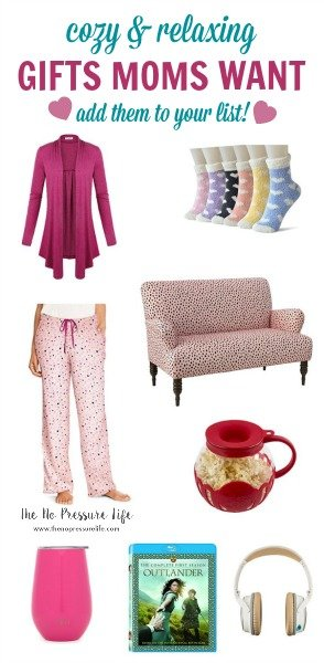 Collage of feminine and cozy Valentine's Day gifts for moms