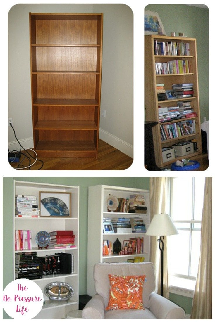 bookcase makeover with latex paint