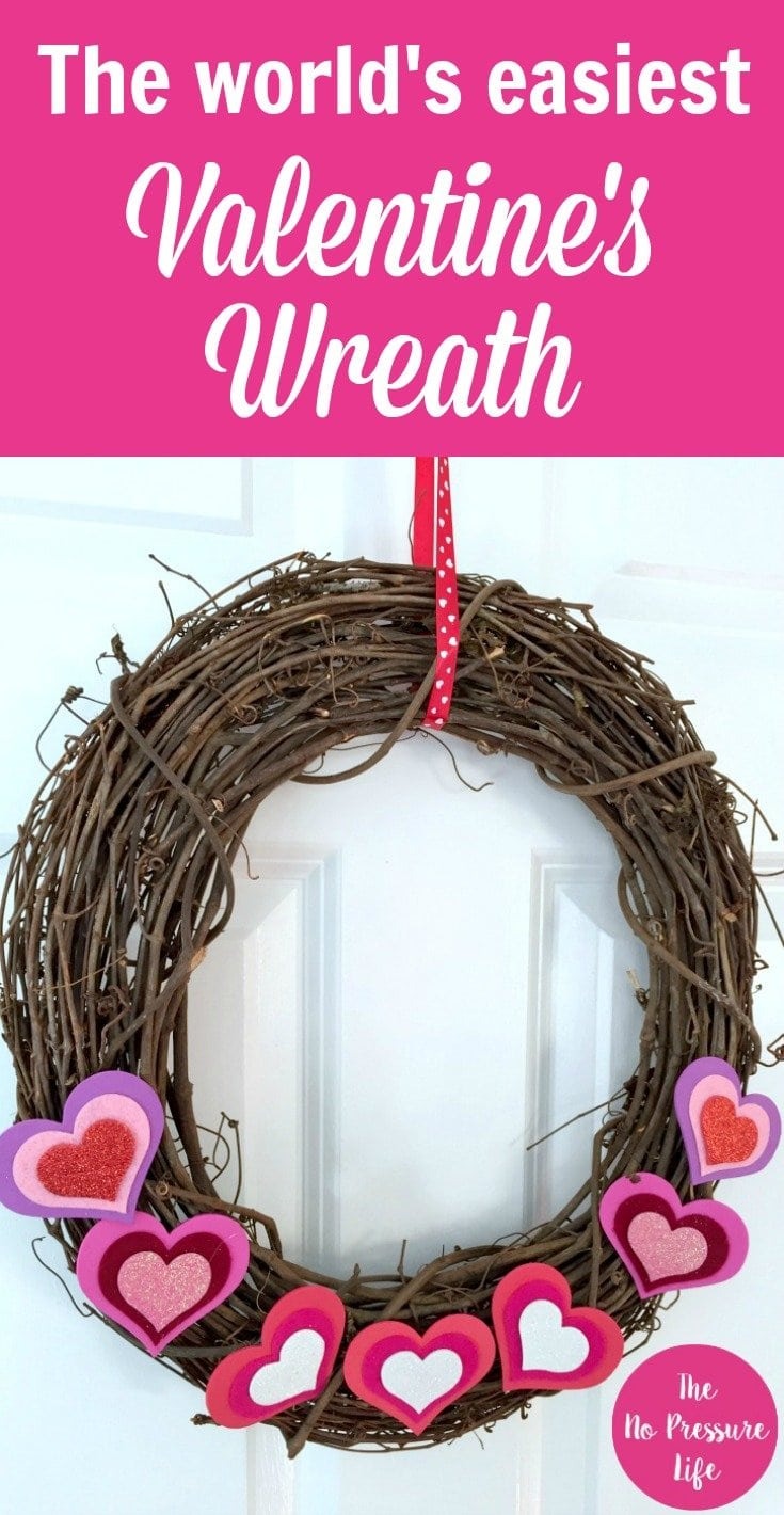 Instructions for a quick grapevine DIY Valentines wreath with hearts