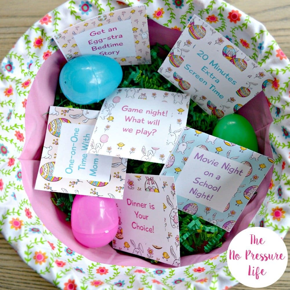 free printable Easter egg coupons in a basket with plastic eggs