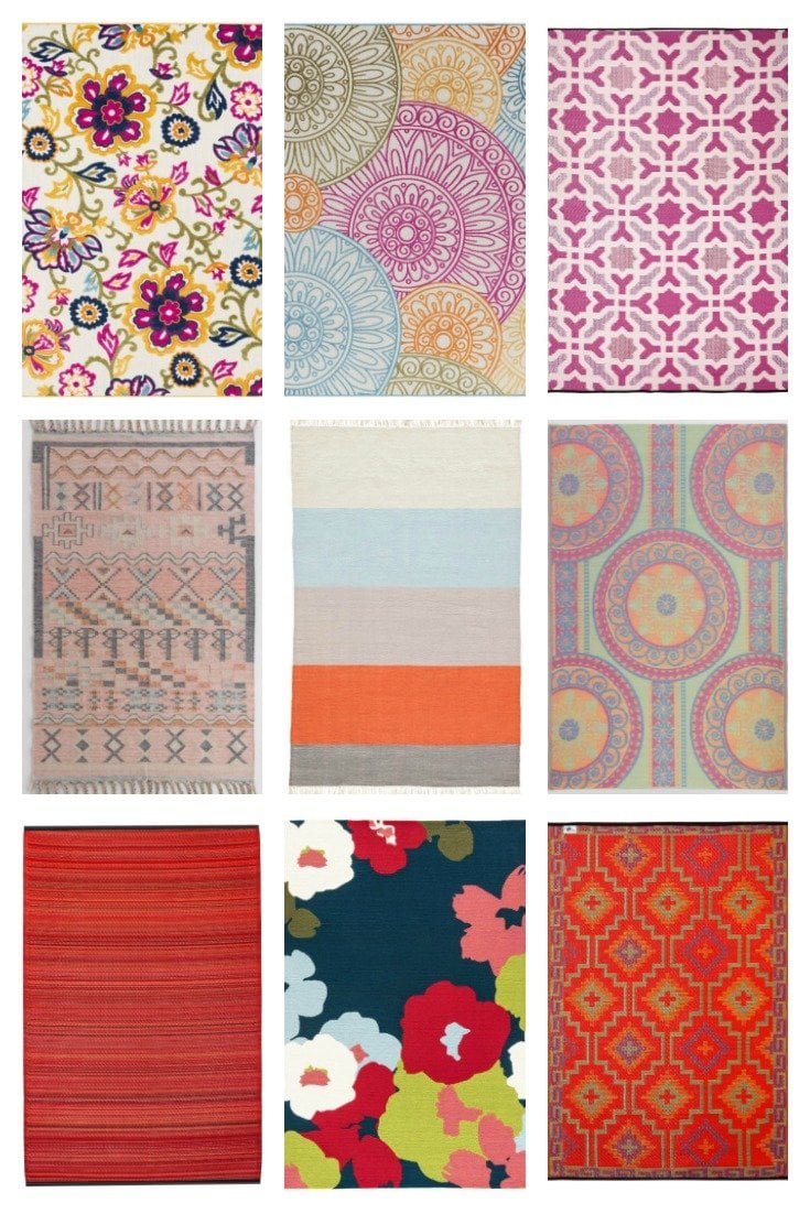 9 red and pink colorful outdoor rugs and where to buy them