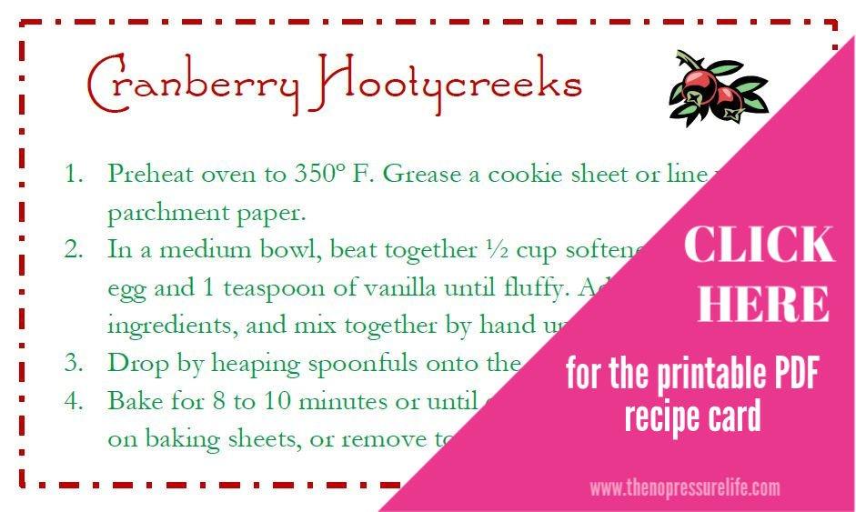Free printable Cranberry Hootycreek recipe cards - mason jar cookie gift