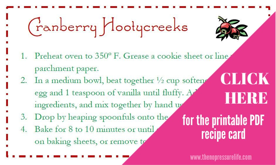 Free printable Cranberry Hootycreek recipe cards - mason jar cookie gift