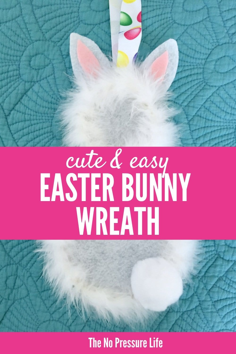 DIY Easter Bunny Wreath - easy and fluffy Easter decor for your front door