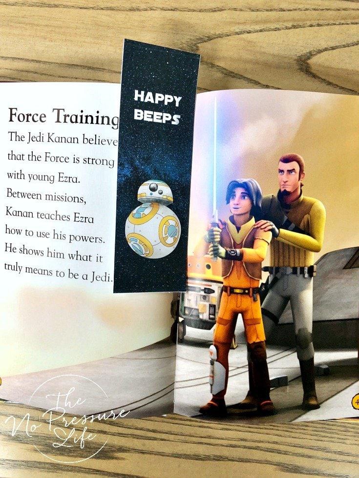 free printable Star Wars BB8 bookmark in a Star Wars rebel book
