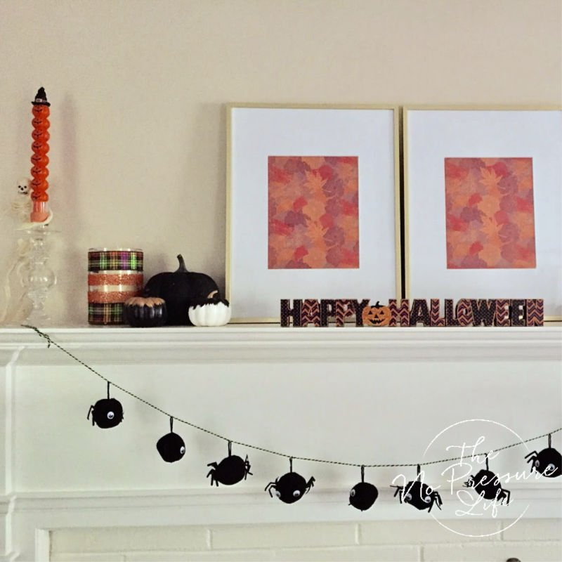 Simple Halloween Mantel Decorations with Pompom Garland