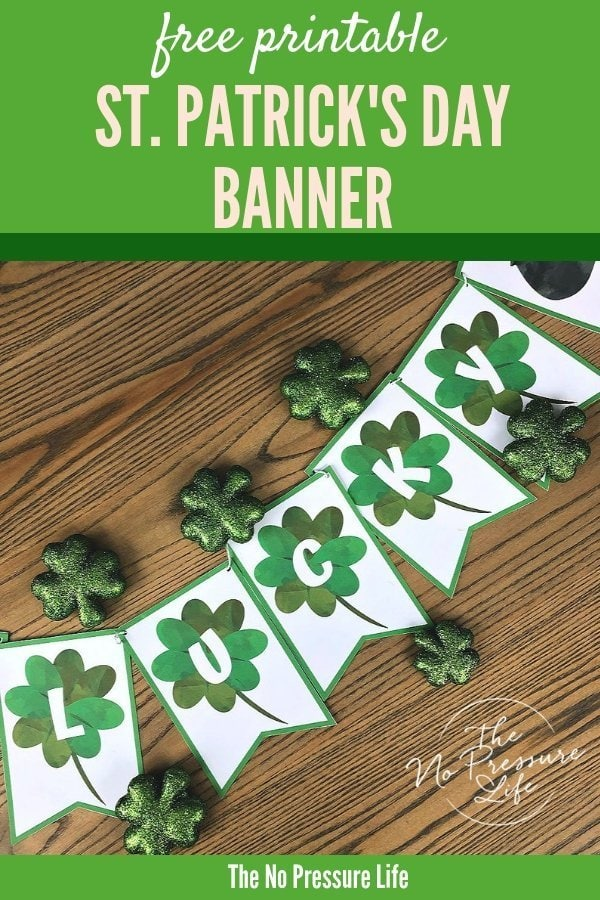 free printable St. Patrick's Day banner - LUCKY banner