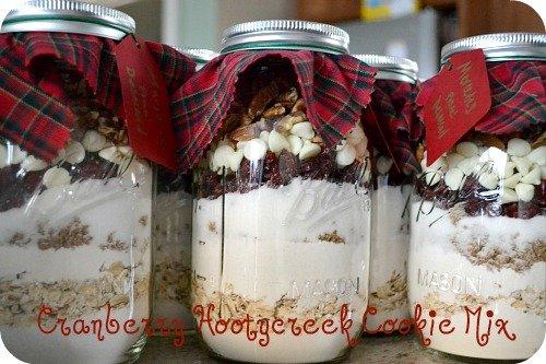 Cranberry Hootycreek cookies in a jar - mason jar cookie mix gift