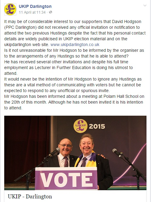 UKIP candidate offers to organise gay pride march in Darlington after being accused of swerving hustings on environmental and LGBT issues