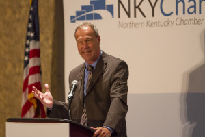 Northern Kentucky Chamber of Commerce Eggs 'N Issues breakfast on August 13 at Receptions Banquet and Conference Center in Erlanger, Kentucky was a chance for business owners from around the area to meet the new NKU Athletic Director Ken Bothof and talk about his bold new vision of NKU Athletics. NKU Athletic Director Ken Bothof talks about his new vision for NKU Athletics and answers questions from business owners about how he sees the future of Northern Kentucky University's athletic program.
