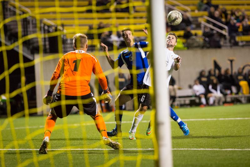 NKU midfielder Cian McDonald scores the lone goal in NKU's 1-0 victory over Eastern Illinois. NKU defeated Eastern Illinois 1-0 at NKU Soccer Stadium on Wednesday, Oct. 29, 2014.
