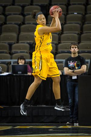 NKU freshman Mikayla Terry rebounds the ball against Ohio University during NKU's 38-77 loss. NKU lost to Ohio University 38-77 on Tuesday, Nov. 25, 2014 at The Bank of Kentucky Center.