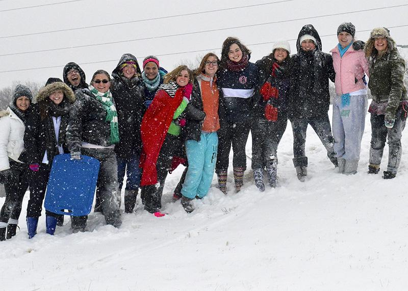 A+group+of+students+gathered+on+campus+for+Snow+Day+fun.+NKU+was+closed+Monday%2C+Feb.+16+due+to+inclement+weather.