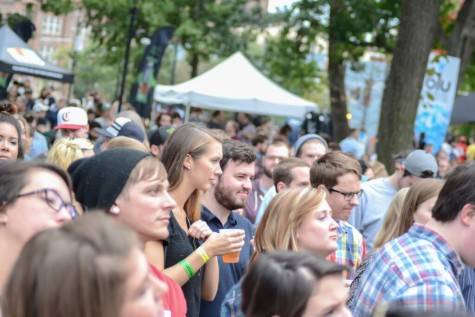Crowds filled the area around the makeshift stage. Dale Earnhardt Jr Jr had a free show the first night of MidPoint Music Festival.