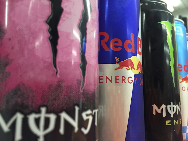 Many students turn to energy drinks to make it through finals. These include popular brands like Monster and Red Bull.