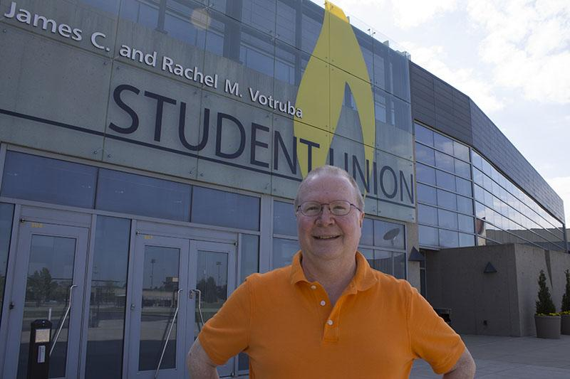 Dr.+Proctor+stands+in+front+of+the+Student+Union%2C+which+is+named+after+one+of+his+dearest+friends%2C+former+NKU+President+James+Votruba.