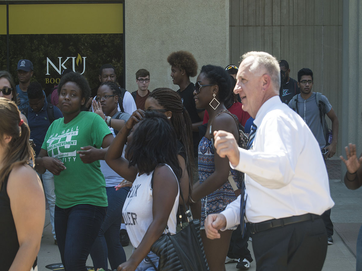Dr. Dan Nadler joined a dance party last semester outside of the SU. Living on campus has allowd him to connect with students, Nadler said.