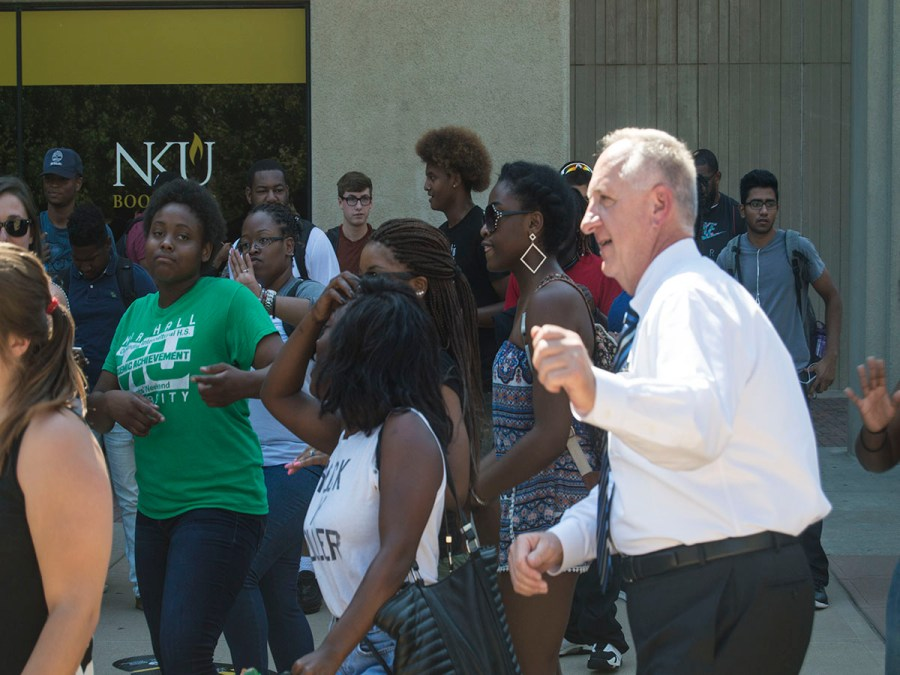 Dr.+Dan+Nadler+joined+a+dance+party+last+semester+outside+of+the+SU.+Living+on+campus+has+allowd+him+to+connect+with+students%2C+Nadler+said.+