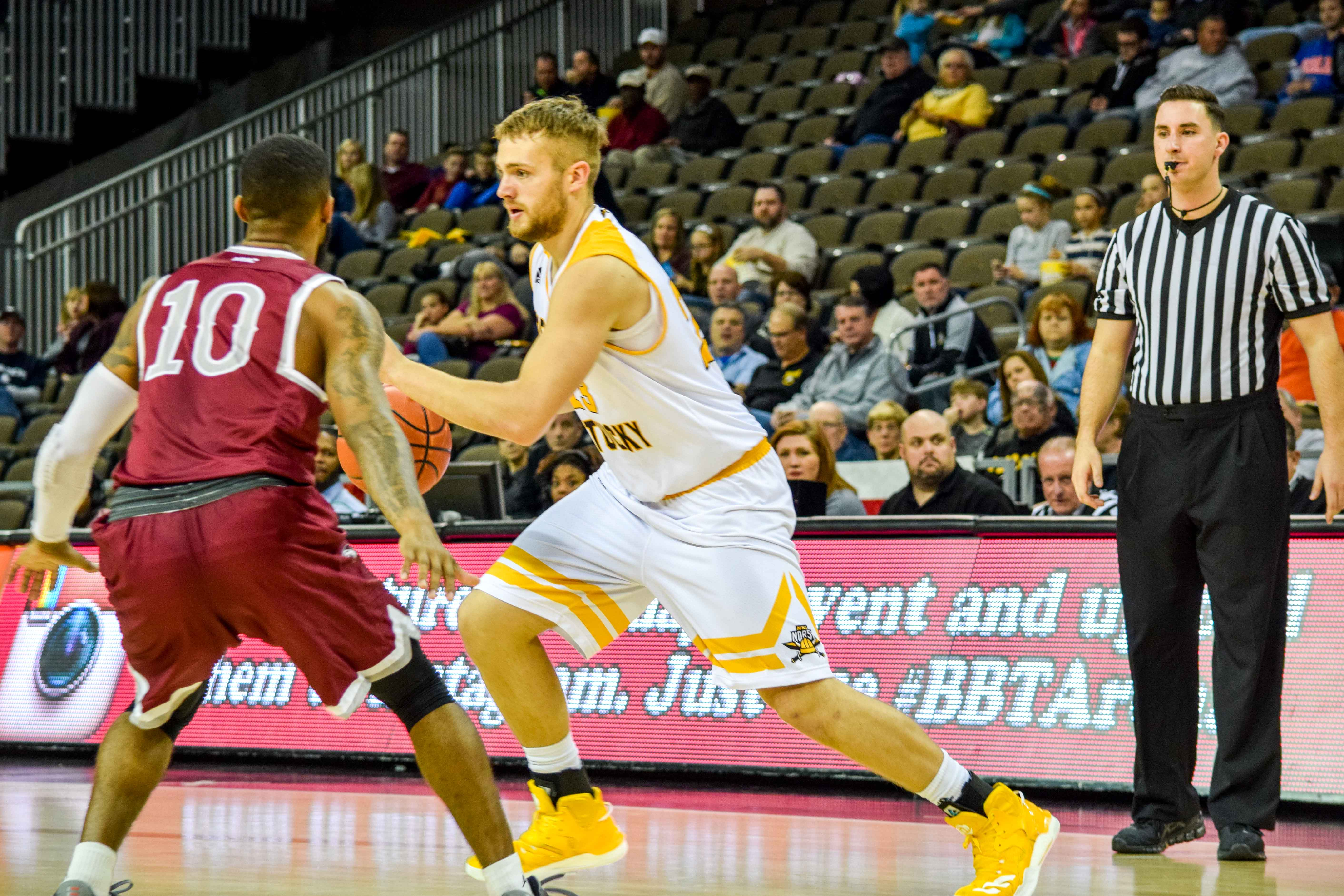 NKU's Carson Williams (23) had a double-double Wednesday against Brescia.