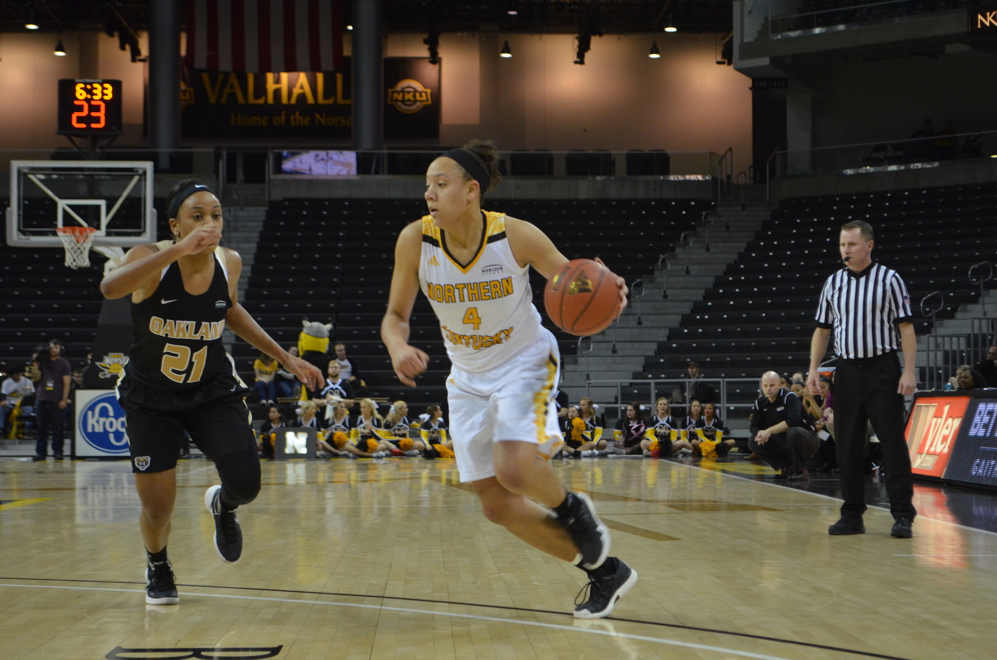 NKU's Mikayla Terry drives to the basket against Oakland on Friday night.