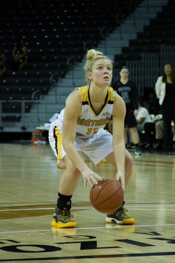 Taryn Taugher shoots a free throw in the loss to Wright State