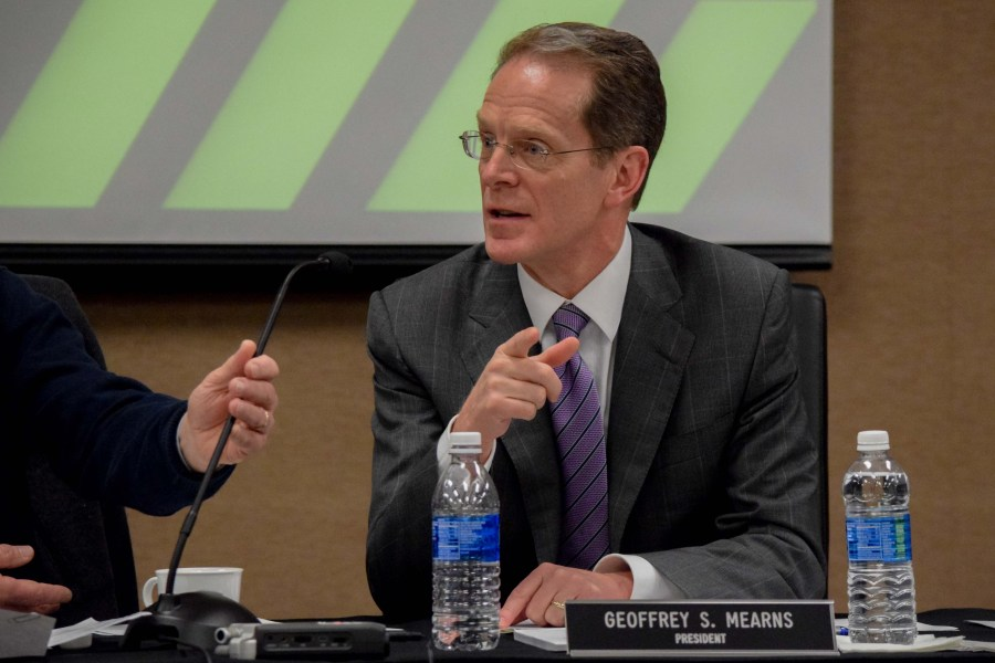 NKU+President+Geoffrey+Mearns+during+Tuesday%27s+Board+of+Regents+meeting.