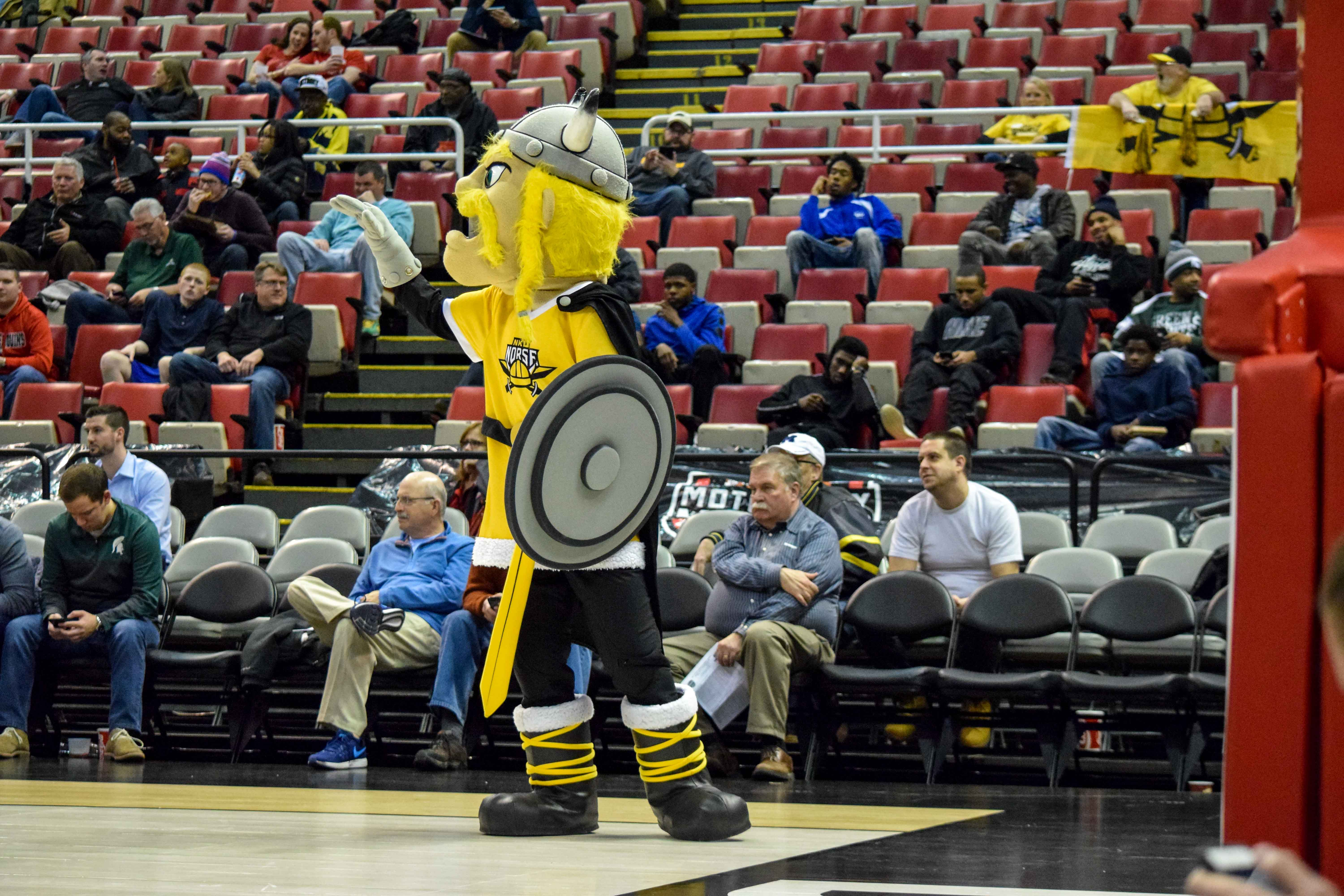 Victor E. Viking waves goodbye to the Youngstown State Penguins during Monday's Horizon League semifinal win over Youngstown State.