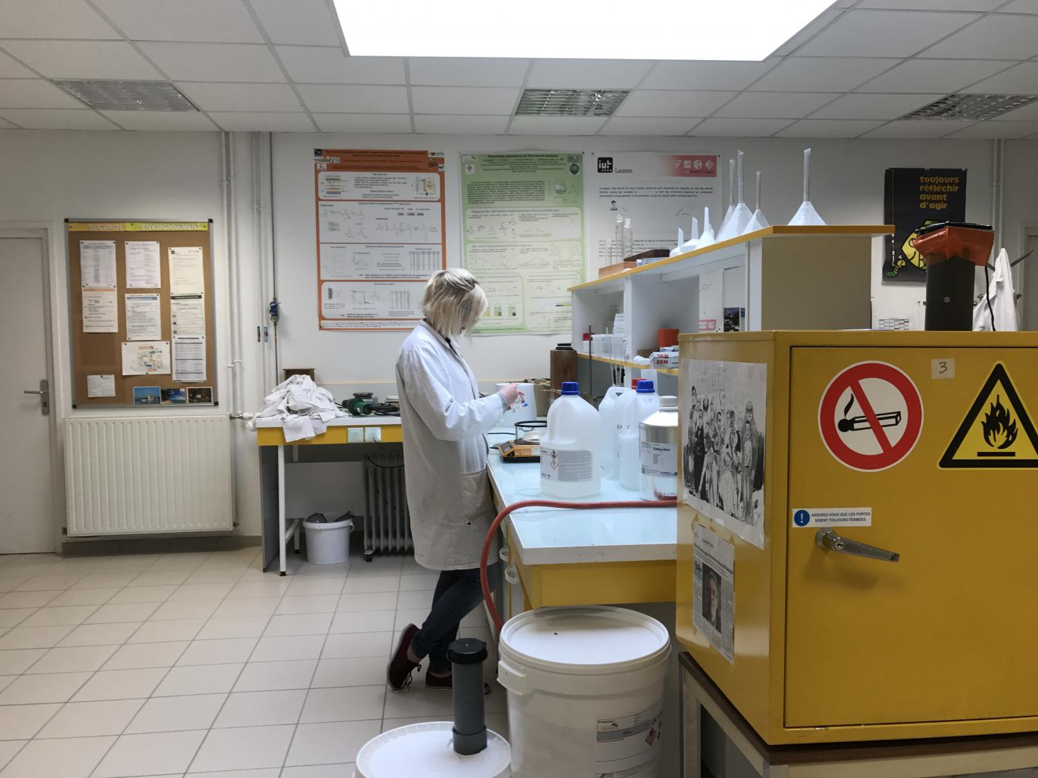 Allison Gast, who traveled to France through STEM-IRSEP this summer, working in the lab while in France.