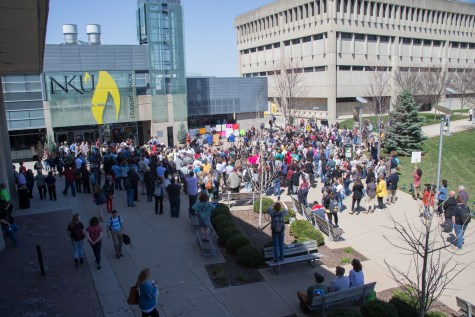 'NKU, what are we going to do?': Students, professors, staff rally against state cuts, pension hikes