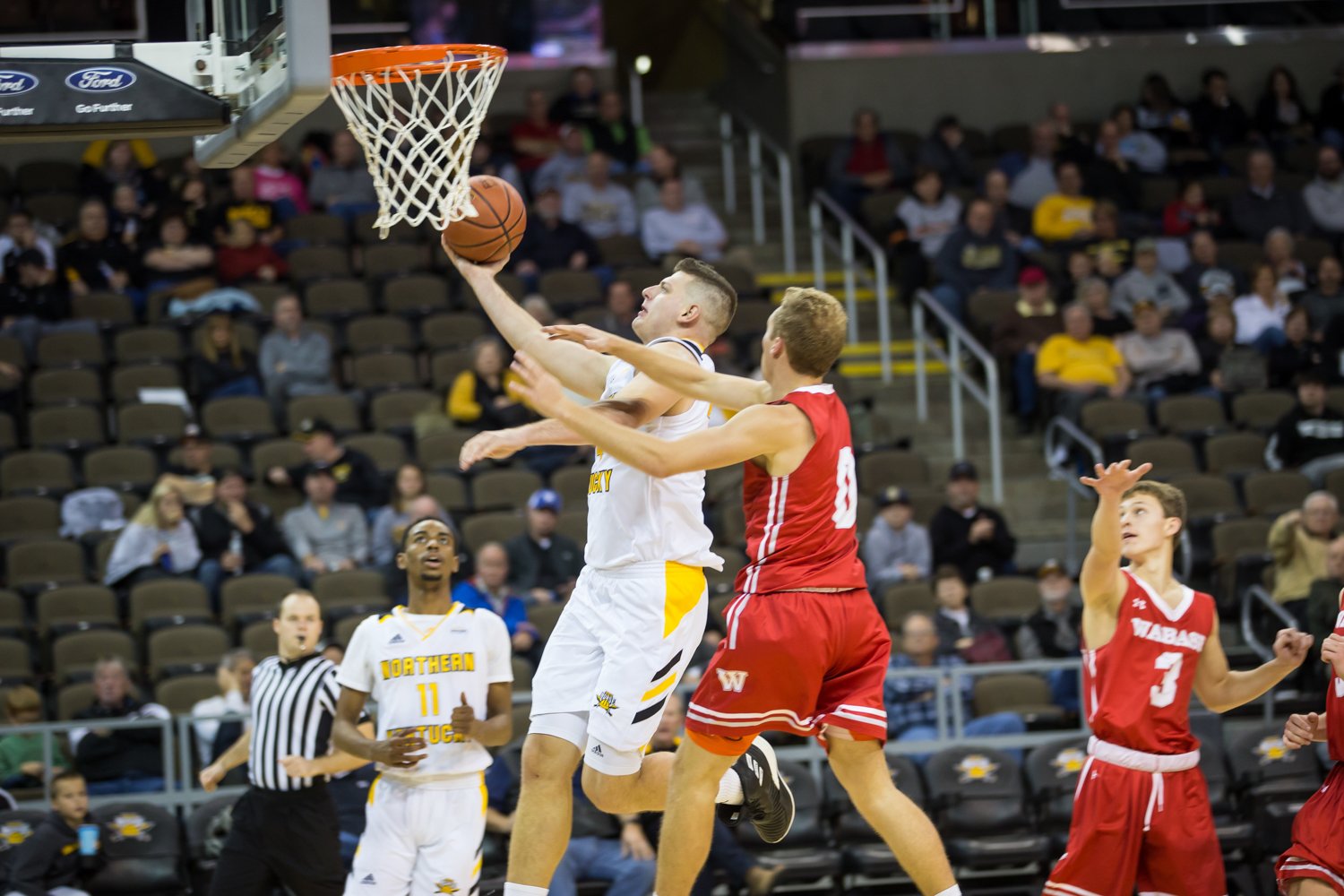 Drew McDonald (34) goes up for a shot during the game against Wabash. McDonald had 10 points on the game.