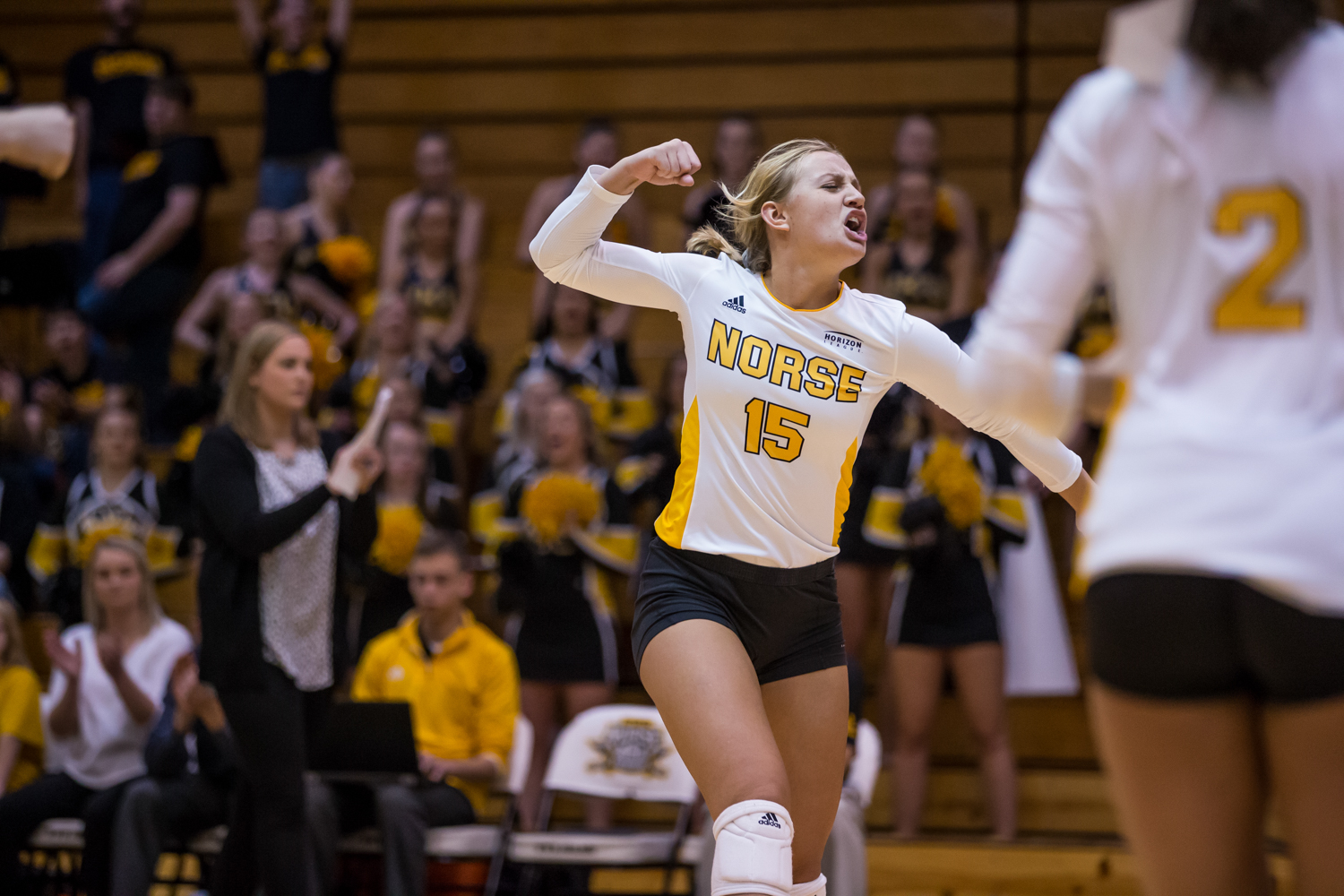 Maddy Weber (15) celebrates after a Norse point during the game against Oakland.