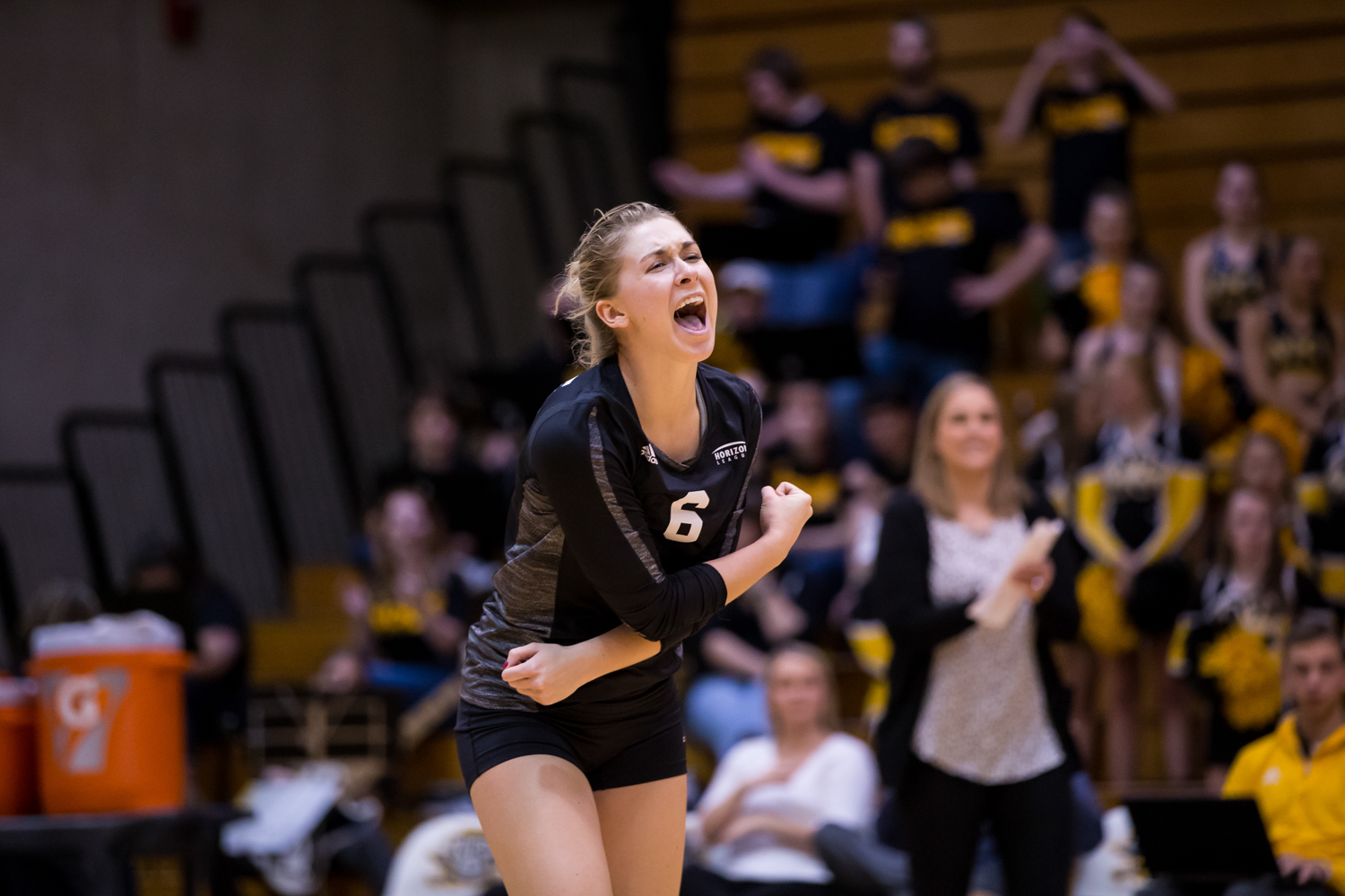 Ashton Terrill (6) celebrates after a Norse point during the game against Oakland.
