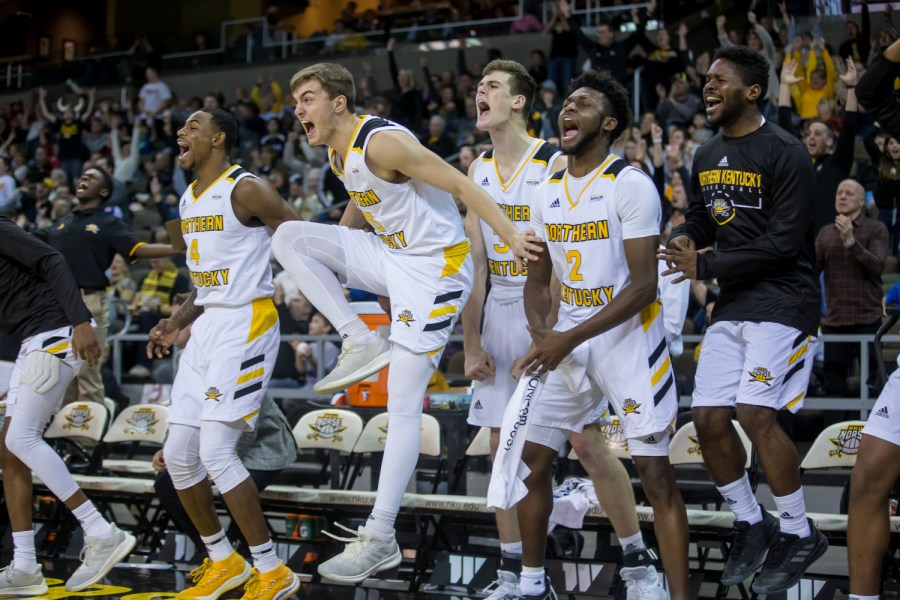 NKU+players+react+after+a+play+during+the+game+against+Miami+University.+The+Norse+defeated+the+RedHawks+72-66.