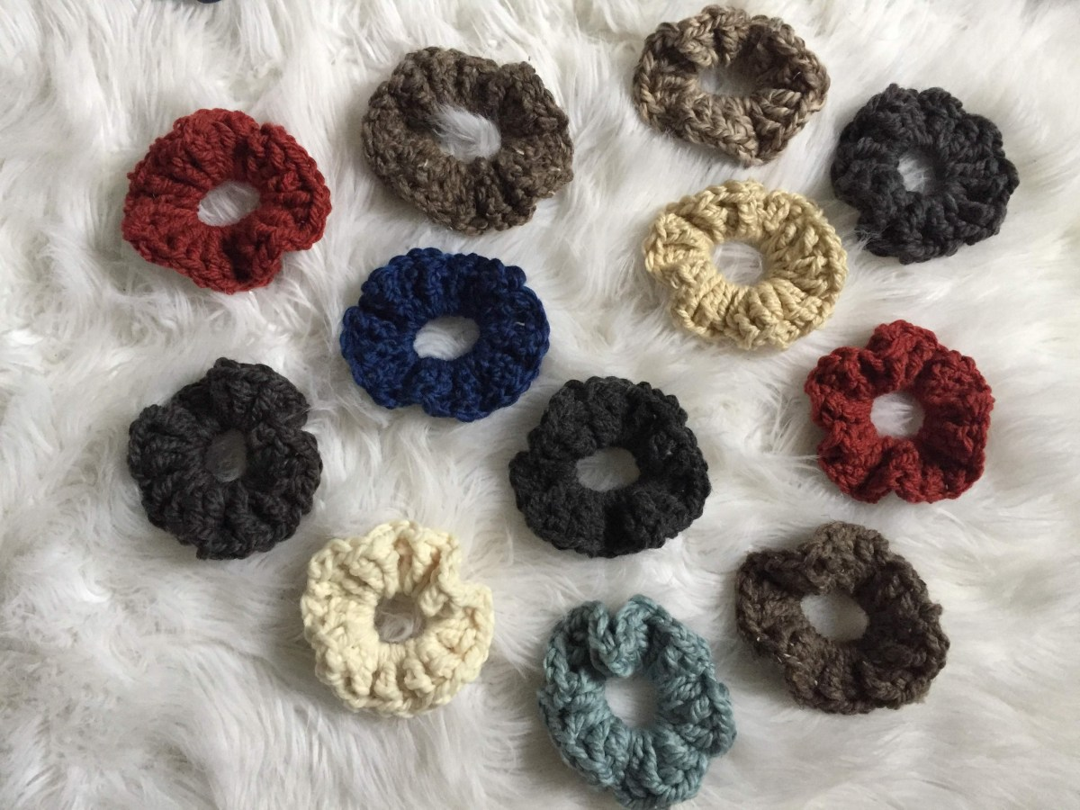 A bunch of crochet scrunchies