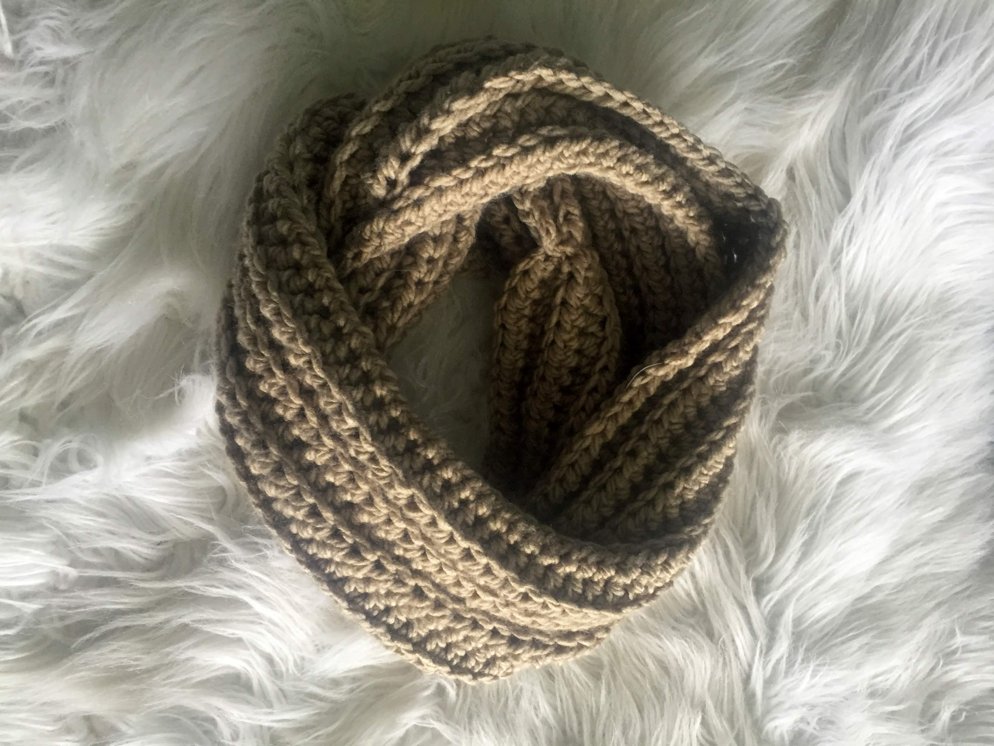 Crochet Ribbed Infinity Scarf
