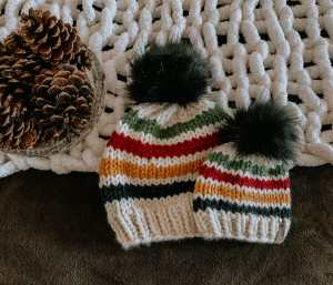 Chunky Striped Knit Hat